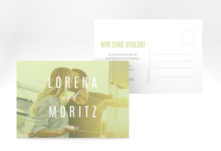 "Verlobungskarte Hochzeit ""Memory"" A6 Postkarte gruen"