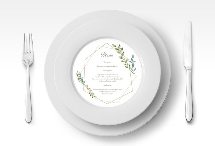"""Menükarte Hochzeit """"Herbarium"""" rund"""