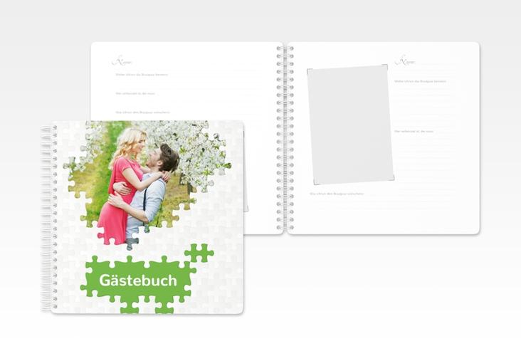"""Gästebuch Hochzeit """"Puzzle"""" Ringbindung gruen"""