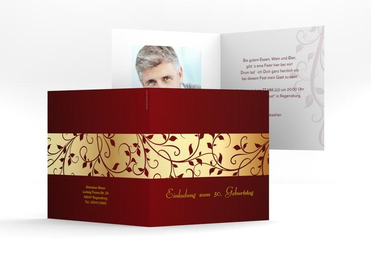 """Einladungskarte """"Hermann/Hermine"""" Quadratische Klappkarte gold"""