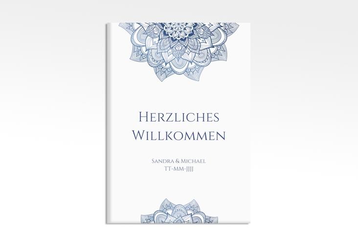 """Willkommensschild Hochzeit """"Delight"""" 50 x 70 cm Leinwand blau"""