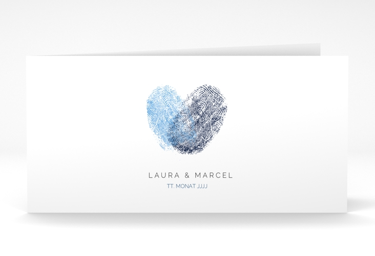 "Dankeskarte Hochzeit ""Fingerprint"" DIN lang Klappkarte blau"
