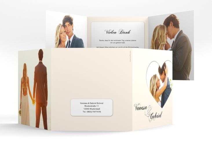 """Dankeskarte Hochzeit """"Sweetheart"""" Quadr. Karte doppelt beige"""