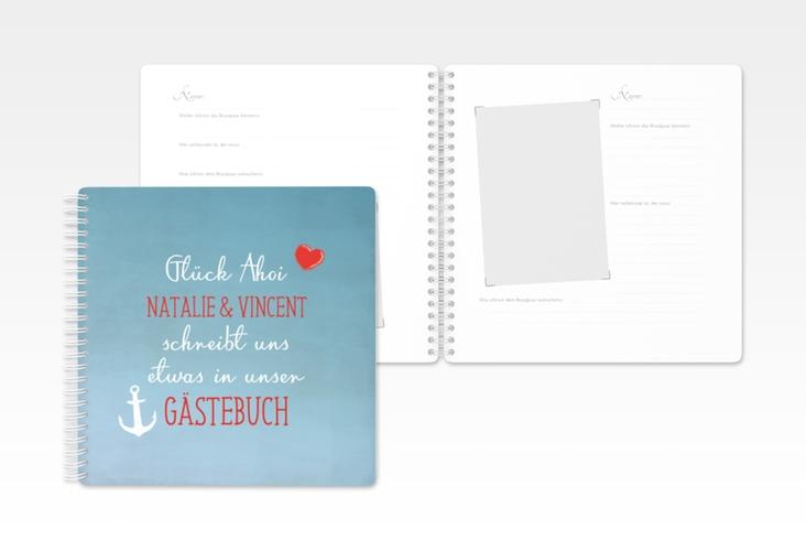 """Gästebuch Hochzeit """"Ehehafen"""" Ringbindung blau"""