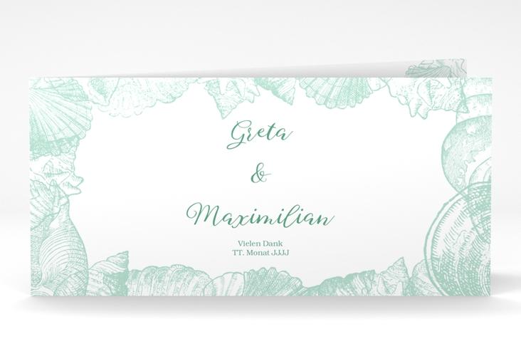 """Dankeskarte Hochzeit """"Muschelreich"""" DIN lang Klappkarte mint"""