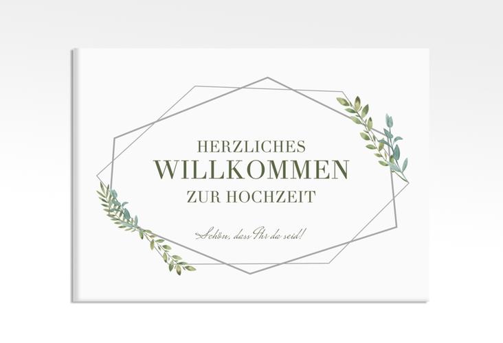 """Willkommensschild Leinwand """"Herbarium"""" 70 x 50 cm Leinwand grau"""