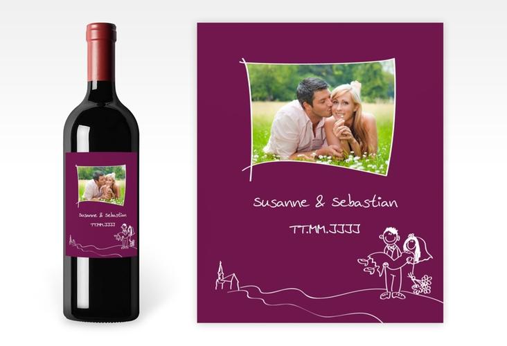 """Weinflaschenetikett Hochzeit """"Pisa"""" Etikett Weinflasche 4er Set"""