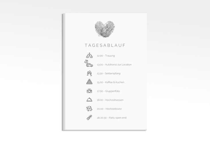 """Tagesablauf Leinwand Hochzeit """"Fingerprint"""" 50 x 70 cm Leinwand schwarz"""