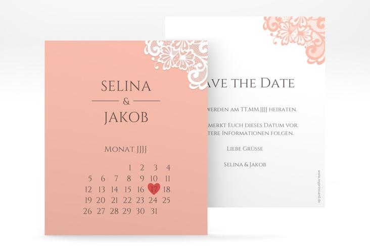 """Save the Date-Kalenderblatt """"Vintage"""" Kalenderblatt-Karte apricot"""