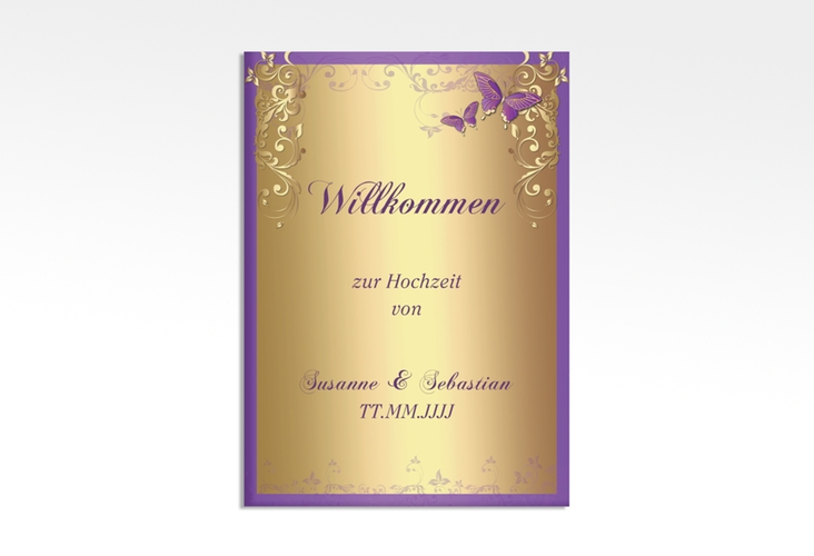 "Willkommensschild Leinwand ""Toulouse"" 50 x 70 cm Leinwand lila"