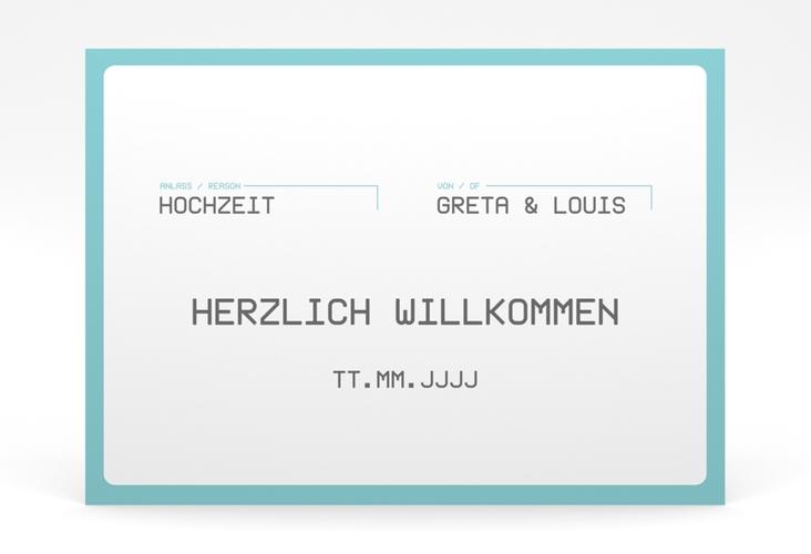 """Willkommensschild Poster """"Weddingpass"""" 70 x 50 cm Poster blau"""