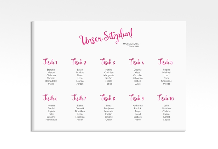 "Sitzplan Leinwand Hochzeit ""Felice"" 70 x 50 cm Leinwand pink"