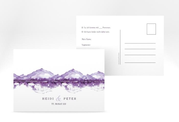 """Antwortkarte Hochzeit """"Bergliebe"""" A6 Postkarte lila"""