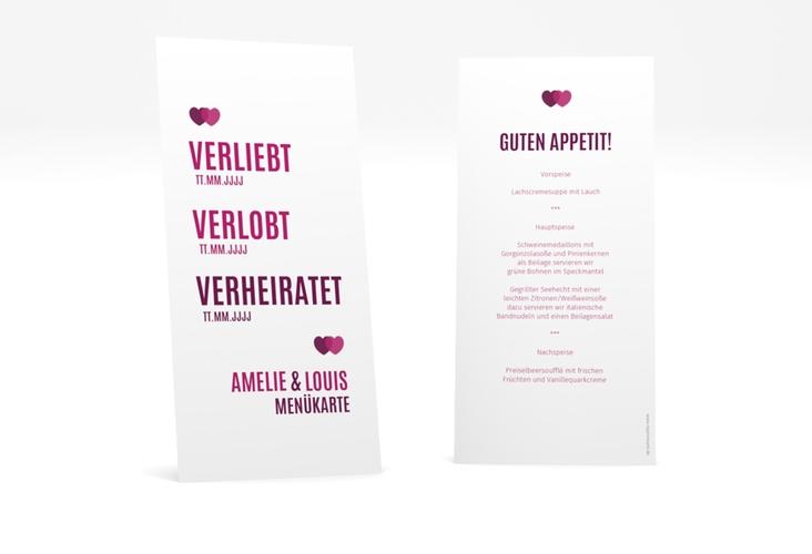 """Menükarte Hochzeit """"Couple"""" DIN lang hoch pink"""