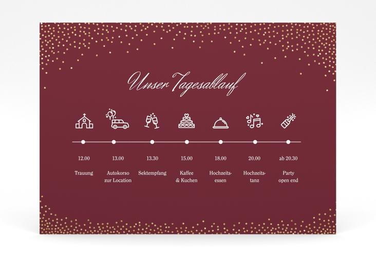"""Tagesablauf Poster Hochzeit """"Glitter"""" 70 x 50 cm Poster rot"""