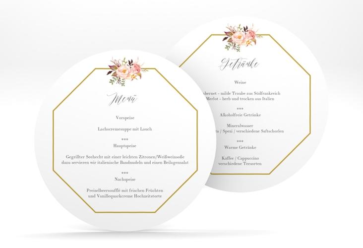 """Menükarte Hochzeit """"Prachtvoll"""" rund weiss"""