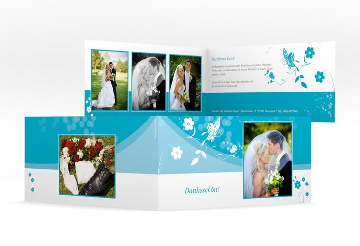 """Danksagungskarte Hochzeit """"Verona"""" DIN lang Klappkarte tuerkis"""