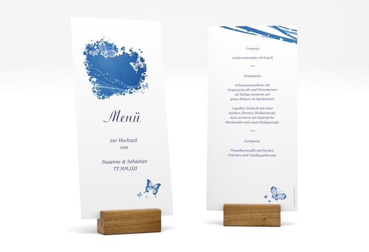 """Menükarte Hochzeit """"Mailand"""" DIN lang hoch blau"""