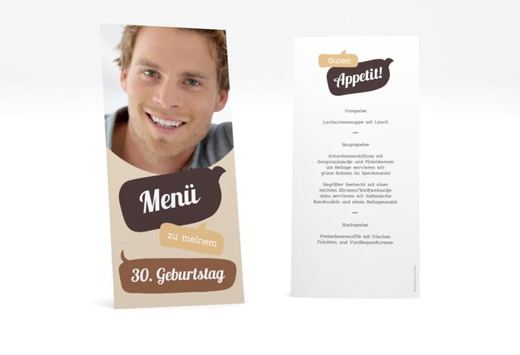 "Menükarte Geburtstag ""Whatsup"" DIN lang hoch braun"