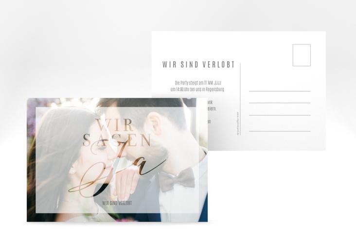 """Verlobungskarte Hochzeit """"Amazing"""" A6 Postkarte weiss"""