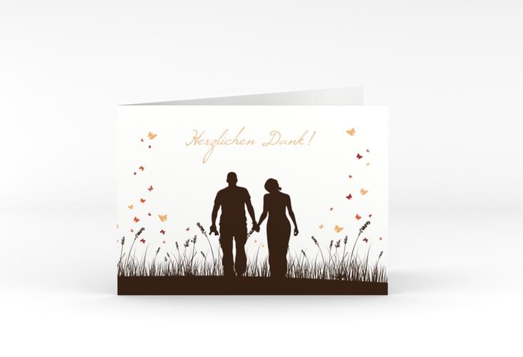 "Danksagungskarte Hochzeit ""Rouen"" A6 Klappkarte Quer braun"