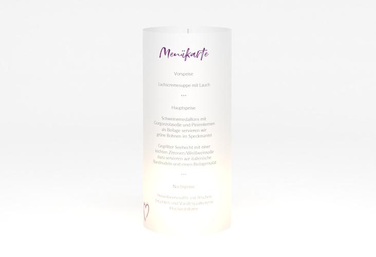 """Windlicht Menü Hochzeit """"Liebe"""" Windlicht lila"""