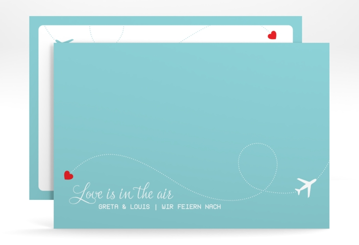 "Change the Date-Karte ""Weddingpass"" A6 quer blau"