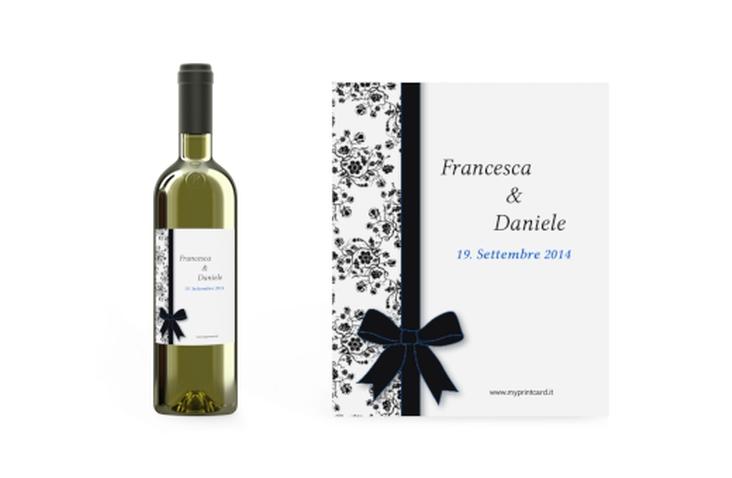 Etichette vino matrimonio collezione Bologna Etikett Weinflasche 4er Set blu