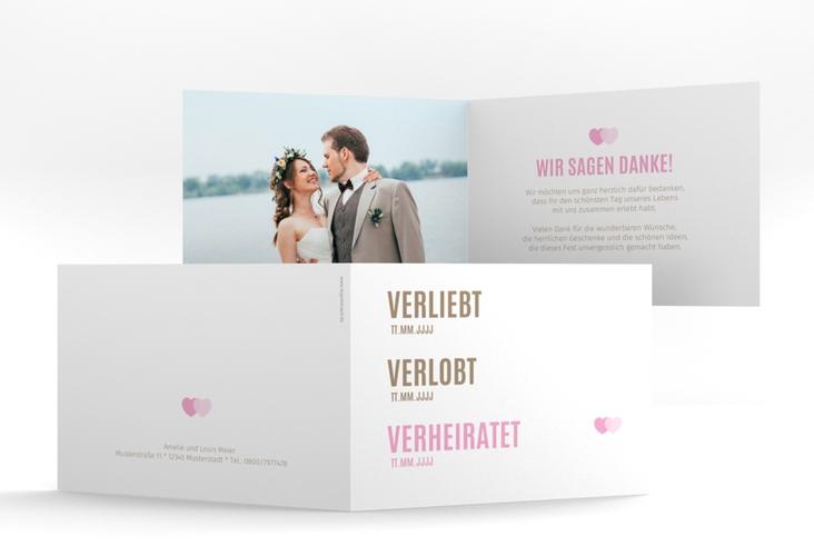 """Danksagungskarte Hochzeit """"Couple"""" A6 Klappkarte Quer rosa"""