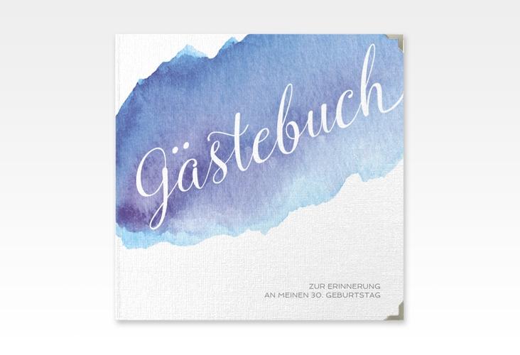 "Gästebuch Selection Geburtstag ""Aquarell"" Leinen-Hardcover blau"