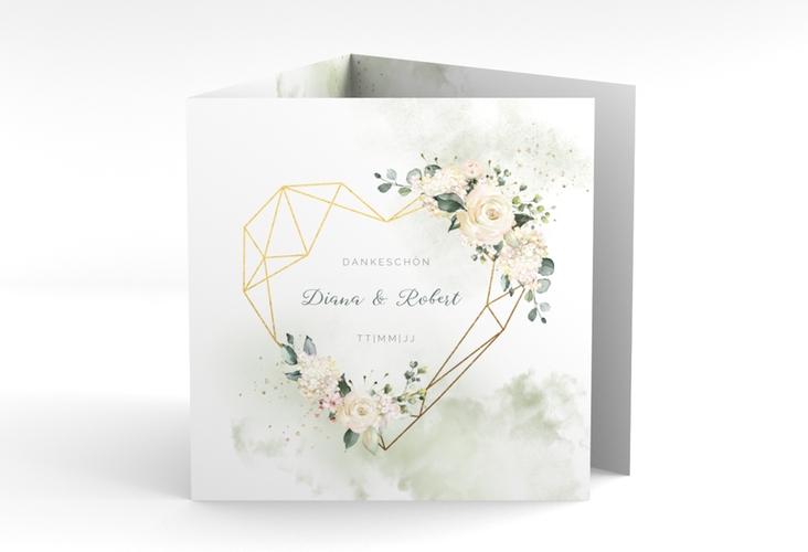 "Dankeskarte Hochzeit ""Adore"" Quadr. Karte doppelt gruen"
