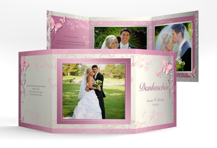 "Dankeskarte Hochzeit ""Toulouse"" Quadr. Karte doppelt rosa"