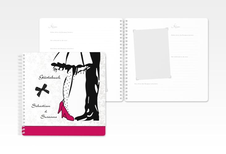 """Gästebuch Hochzeit """"Straßburg"""" Ringbindung pink"""