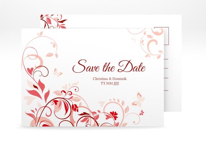 """Save the Date-Postkarte """"Lilly"""" A6 Postkarte rot"""