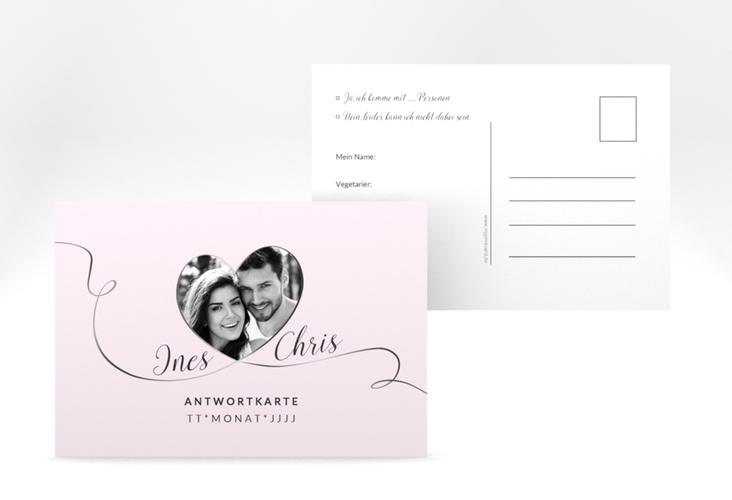"Antwortkarte Hochzeit ""Dolce"" A6 Postkarte rosa"