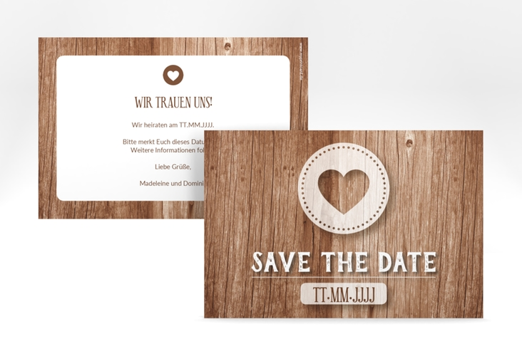 "Save the Date-Karte ""Flair"" A6 quer braun"