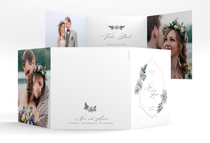 """Danksagungskarte Hochzeit """"Terrarium"""" Quadr. Karte doppelt weiss"""