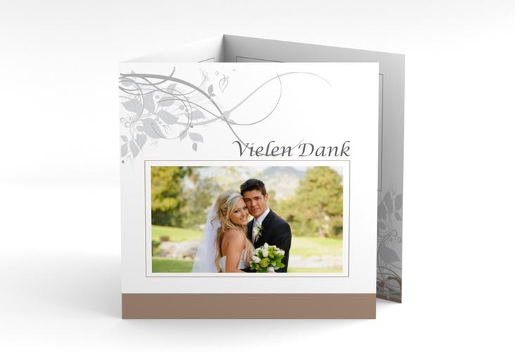 "Dankeskarte Hochzeit ""Florenz"" Quadr. Karte doppelt braun"