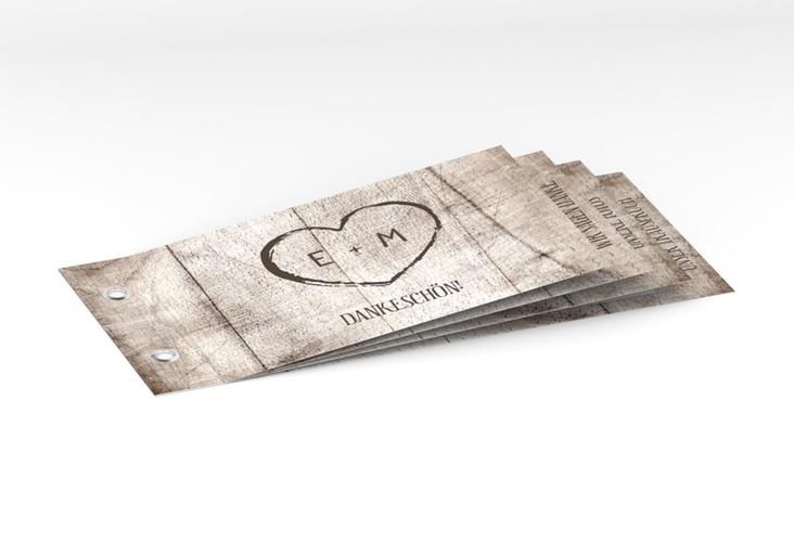 """Danksagungskarte Hochzeit """"Wood"""" Booklet weiss"""