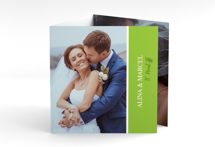 "Dankeskarte Hochzeit ""Classic"" Quadr. Karte doppelt gruen"