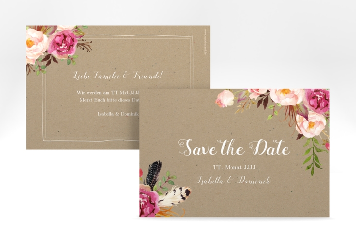"Save the Date-Karte ""Flowers"" A6 quer braun"