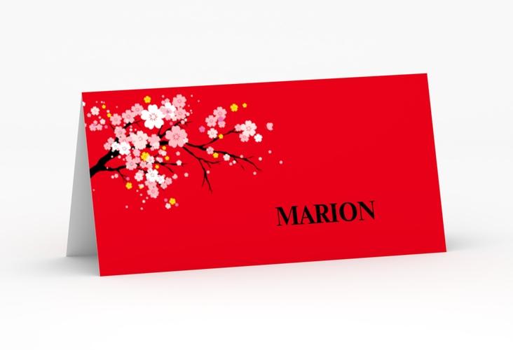 """Tischkarte Hochzeit """"Sakura"""" Tischkarten rot"""