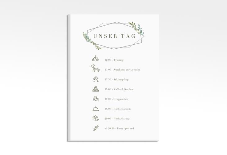 "Tagesablauf Leinwand Hochzeit ""Herbarium"" 50 x 70 cm Leinwand grau"
