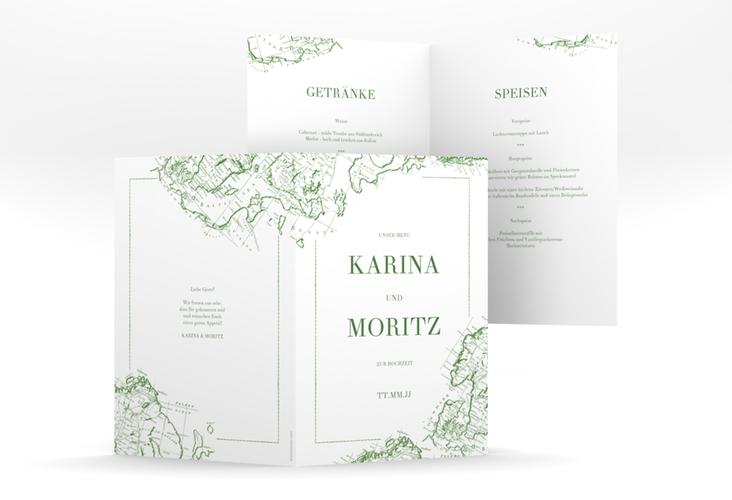 """Menükarte Hochzeit """"Voyage"""" DIN A5 geklappt gruen"""