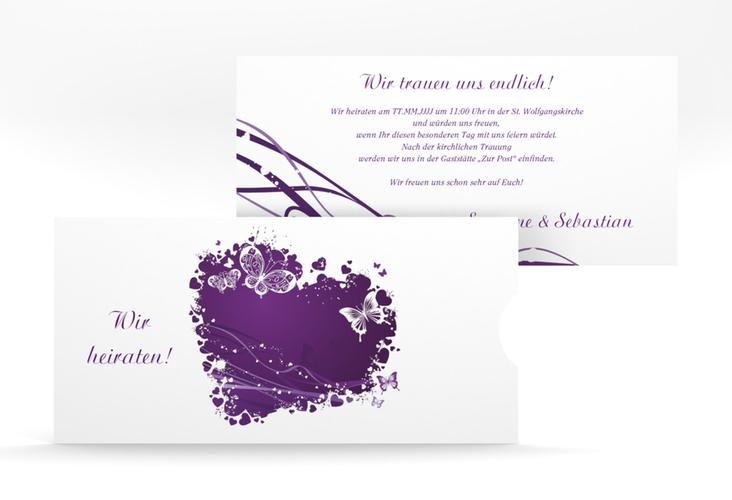 """Hochzeitseinladung """"Mailand"""" Einsteckkarte lila"""