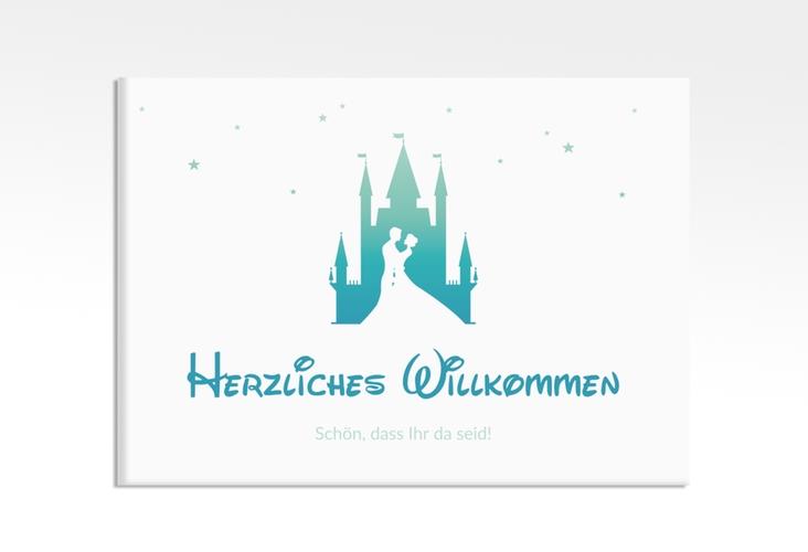 """Willkommensschild Leinwand  """"Castle"""" 70 x 50 cm Leinwand tuerkis"""