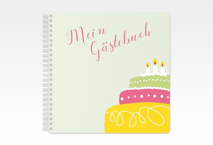 "Gästebuch Geburtstag ""Cake"" Ringbindung gruen"