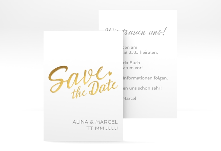 "Save the Date-Visitenkarte ""Glam"" Visitenkarte weiss"