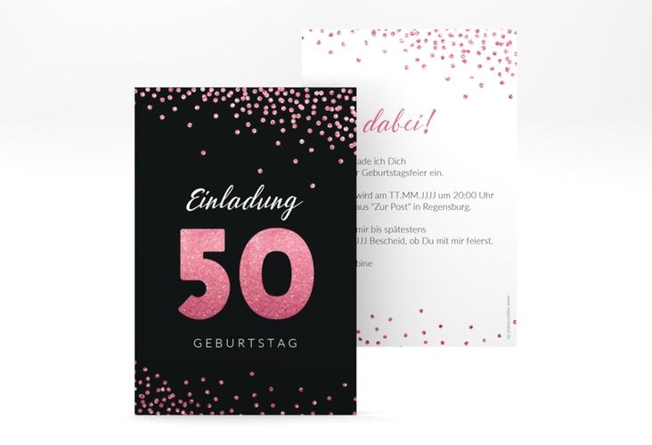 """Einladungskarte """"Glitzer"""" A6 hoch"""