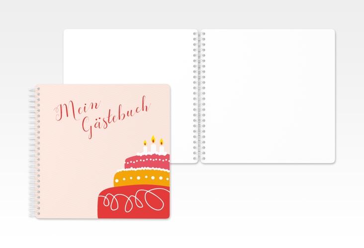 """Gästebuch Geburtstag """"Cake"""" Ringbindung rot"""